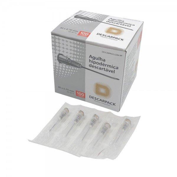 10140 agulha hipodermica descartavel cx c 100 und descarpack 30 x 0 70 mm 22g 1 14 cinza
