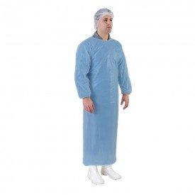 13975 avental plastico c manga e elastico descartavel pct c 50 und azul estereli med
