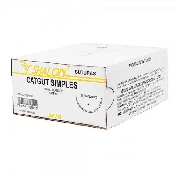 fio de sutura catgut cromado 3 0 c agulha 12 cilindrica cx c 24 und shalon