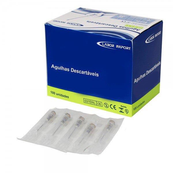 10130 agulha hipodermica descartavel cx c 100 und labor import 25 x 0 70 mm 22g 1 cinza