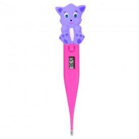 13057 termometro clinico digital infantil gato incoterm termomed kids rosa