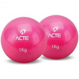 14273 bola tonificadora com peso caixa c 2 unidades acte 1 quilo rosa