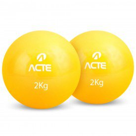 14274 bola tonificadora com peso caixa c 2 unidades acte 2 quilos amarela