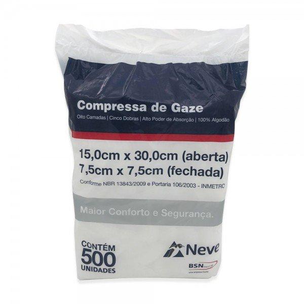 14540 compressa de gaze nao esteril 7 5 x 7 5 cm pct c 500 neve 13 fios