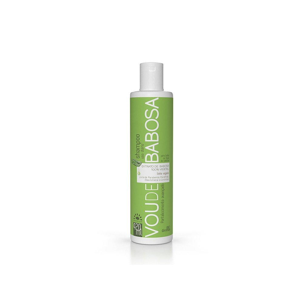 14895 shampoo vegano com filtro solar 420 ml griffus vou de babosa